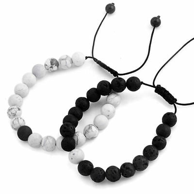 2PCS Distance Braided Bracelets Relationship Jewelry Natural Black/White Stone