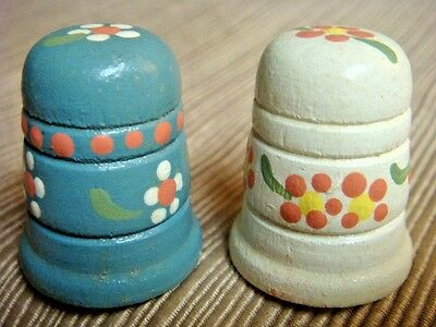 2 Hand Carved & Hand Painted WOODEN THIMBLES - Floral Pattern