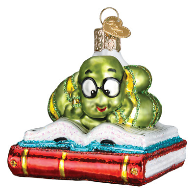 """Bookworm"" (12514)X Old World Christmas Glass Ornament w/OWC Box"