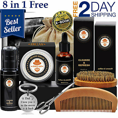 Beard Care Kit Tool Set Grooming Balm Oil Mustache Products Supplies Travel