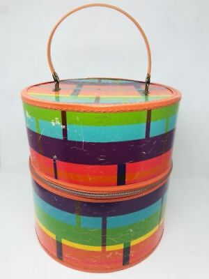 vtg 60's 70's Mod Colors Zippered Wig Hat Carrier With Handle Hatbox Bagmaster