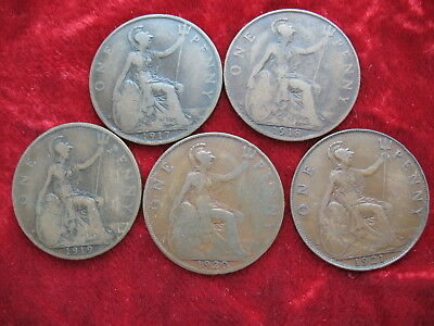 Lot of 5 English Large Penny's, 1917, 1918, 1919, 1920 & 1921! NICE COINS!