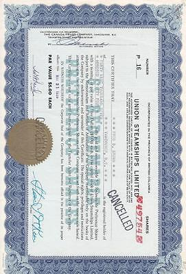 Stock Cert.: Union Steamship Limited,1958,  (S11134)