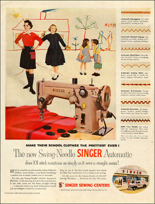 1949 vintage AD SINGER Swing Needle Automatic Sewing Machine  070718