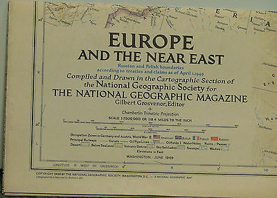 "Vintage 1949 National Geographic Map of Europe and the Near East ""Cold War"""