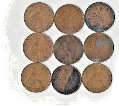 {Lot #84} SEE LIST OF 9 different British Large Cent Coins - Great Britain Penny