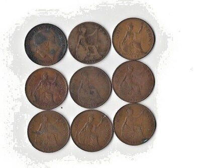 {Lot #85} SEE LIST OF 9 different British Large Cent Coins - Great Britain Penny
