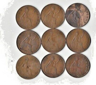 {Lot #90} SEE LIST OF 9 different British Large Cent Coins - Great Britain Penny