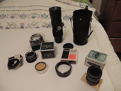 Lot Vintage Camera Accessories Vivitar Lens Tele Converter Hood Asahi AS IS