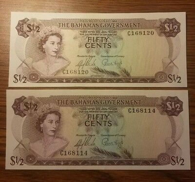 1965 $1/2 Bahamas Half Dollar Banknote TWO NOTES fifty cent CH CU Uncirculated