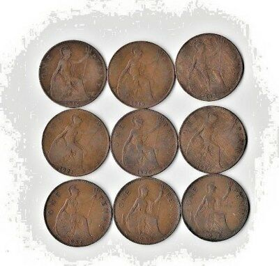 {Lot #91} SEE LIST OF 9 different British Large Cent Coins - Great Britain Penny