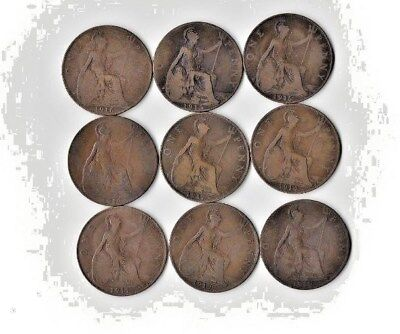 {Lot #93} SEE LIST OF 9 different British Large Cent Coins - Great Britain Penny