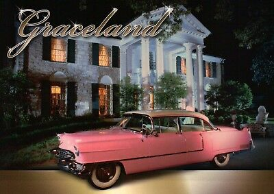 Elvis Presley Home Graceland with Pink Cadillac, Memphis Tennessee TN - Postcard