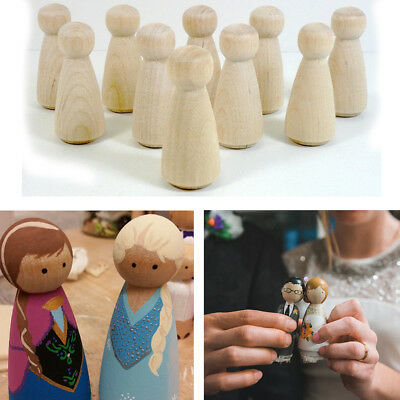 Home Decor Nesting Set Peg Dolls DIY Crafts Unpainted Wooden People Kid Toy