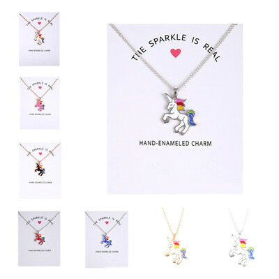 Christmas gift Unicorn pendant necklace multi kids girls costume jewellery party