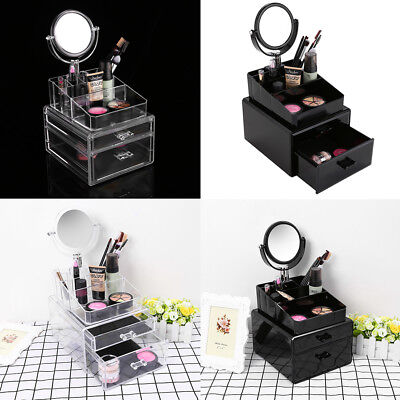 Clear Acrylic Cosmetic Organizer Makeup Case Jewelry Storage Holder Box + Drawer