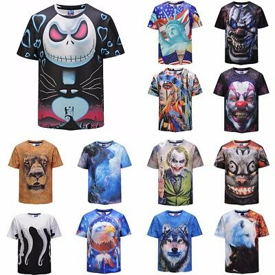 3D Animal Clown Printed T-shirt Men's Short Sleeve Funny Fashion Casual Tee Tops