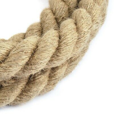 30mm NATURAL ROPE twisted strand JUTE fiber decking sailing garden cord sash