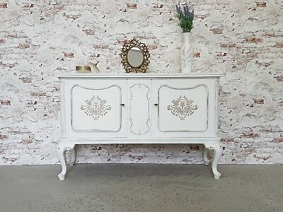 Anrichte Chippendale Sideboard Shabby Chic Old White Kommode Vintage Holz