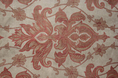Arts & and Crafts French fabric 1870 printed art nouveau design cotton faded
