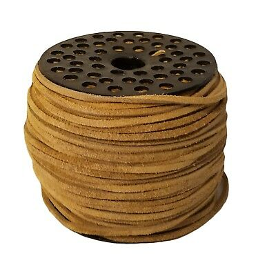 """Genuine Suede Leather Lace Jewelry Cord 1/8"""" 3mm x 100 yds Large Spool Tan"""