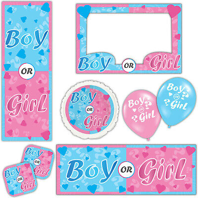 Boy Girl Baby Shower Gender Reveal  Banners Decorations Balloons Party Supplies