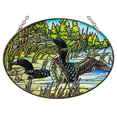 """Loons Suncatcher Hand Painted Glass By AMIA Studios 7"""" x 5"""" Oval New In Box!"""