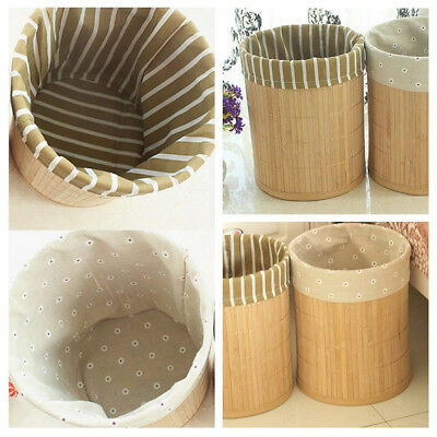 Bamboo Bin Basket Waste Paper Round Office Home Bathroom Bedroom Rubbish