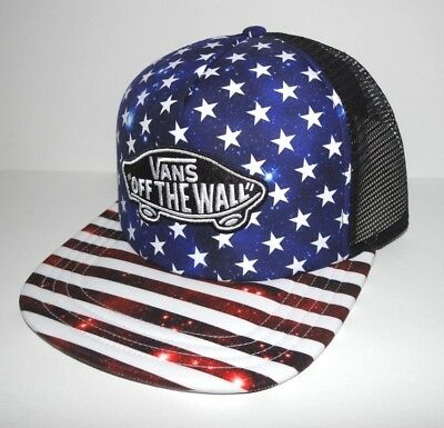 1474b94c406 VANS - TRUCKER Plus Snapback Hat (NEW) Americana STARS STRIPES ...
