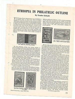 Ethiopia In Philatelic Outline - 2 Page Tear Sheet Stamp Collecting Aug 10 1972
