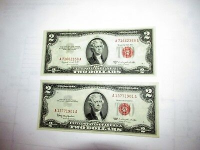$2 U.S. Red Seal Notes 1953 B XF Condition / 1963 AU Condition ...S-6 - 23