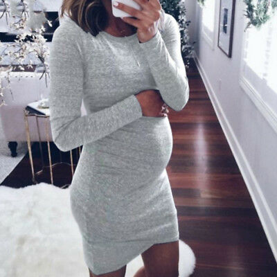 Pregnancy Bodycon Maternity Dress T Shirt Mini Dress Pregnancy Casual Womens