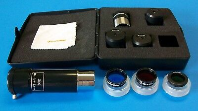Celestron 10 pc Accessory Kit For Telescope Eyepiece Filter Case + FREE Barlow