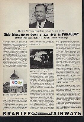 Braniff International Airways 1961 Side Trips Down The Parana River Paraguay Ad