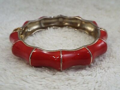 Goldtone Red Bamboo Hinged Bangle Bracelet (A30)