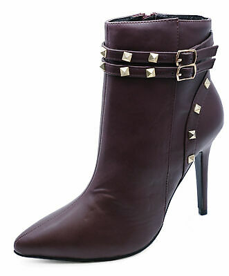 Ladies Burgundy Stud Zip-Up Stiletto Rock-Chick Ankle Calf Boots Shoes Sizes 3-8