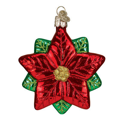 """Poinsettia Star"" (22028)X Old World Christmas Glass Ornament w/OWC Box"