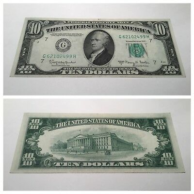 VINTAGE ten DOLLAR 1950-E $10 CHICAGO FEDERAL RESERVE NOTE BILL GREEN SEAL VNC