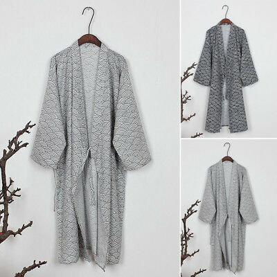 Black/Gray Bathrobe Robe Men's Kimono Yukata Cotton Soft Japanese Loose Gown