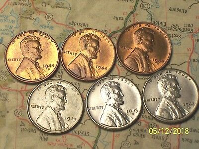"""1943/44--P,D&S @  """"Top Quality"""" Lincoln Wheat Pennys"""