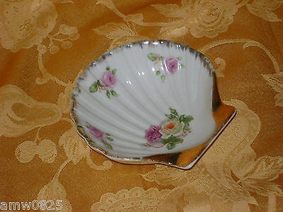Occupied Japan Vintage Candy Trinket Dish Berkshire China Seashell Pink Roses