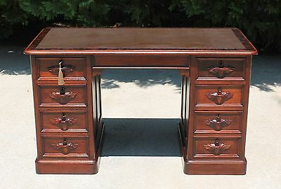Victorian Renaissance Revival Walnut Leather Top Library Table Desk w Key c1870