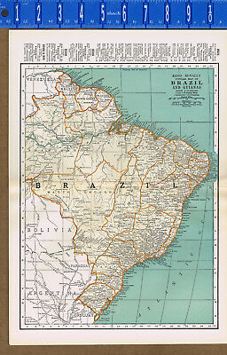 BRAZIL and Guianas - 1933 Color Map