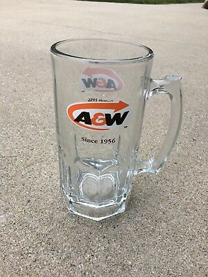 """NOS A&W Root Beer Mug Since 1956 Large Float Glass 7 7/8"""" Tall (23 Available)"""