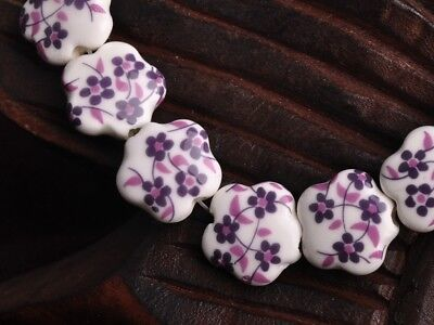 NEW 10pcs 15X6mm Ceramic Flower Shape Spacer Loose Beads Findings Pattern  #4
