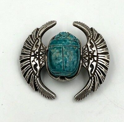 Antique Egyptian Sterling Silver Faience Scarab brooch Victorian winged