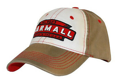 IH FARMALL *BROWN & WHITE* Distressed Logo TWILL Hat Cap *NEW!* FA13