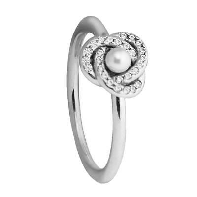 CRYSTAL LOVE KNOT w White Crystal Pearl .925 Sterling Silver Ring ~~ Choose Size