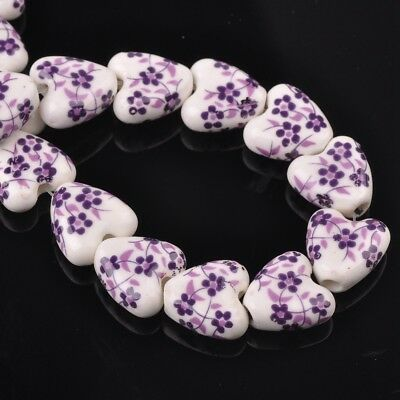 NEW 10pcs 14mm Ceramic Heart Flowers Loose Spacer Beads Findings Pattern #12