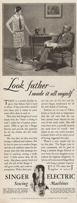 1929 Singer Electric Sewing Machine Look Father I Made It All Myself photo Ad